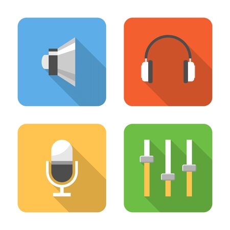 Flat sound icons with long shadows. Vector illustration