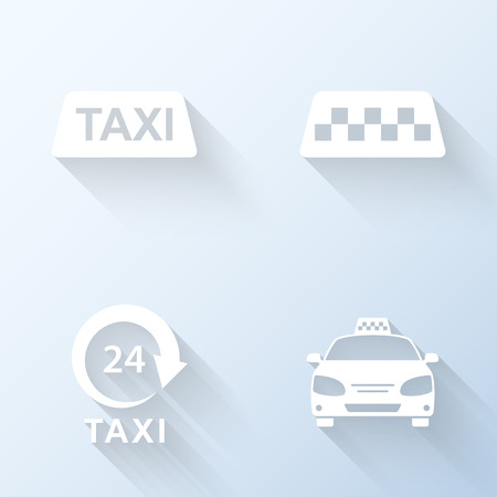 taxi sign: Flat taxi icons with long shadows. Vector illustration