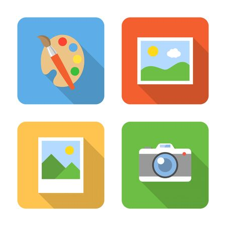 lens brush: Flat image icons with long shadows. Vector illustration