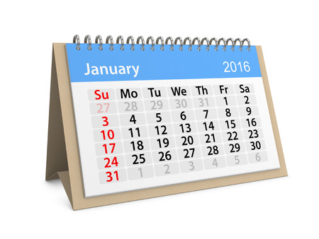 datebook: Monthly calendar for January 2016. 3d illustration Stock Photo