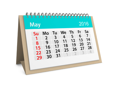 table calendar: Monthly calendar for May 2016. 3d illustration
