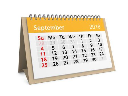 Monthly calendar for September 2016. 3d illustration