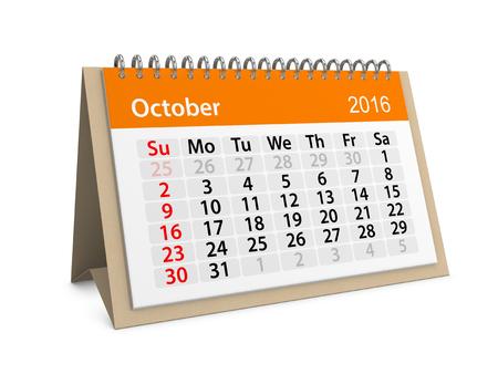 Maandelijkse kalender voor oktober 2016. 3d illustratie