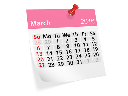 datebook: Monthly calendar for March 2016. 3d illustration