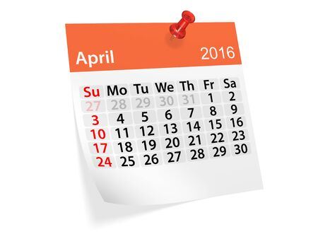 monthly calendar: Monthly calendar for April 2016. 3d illustration