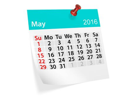 datebook: Monthly calendar for May 2016. 3d illustration