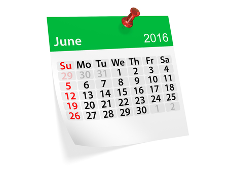 monthly calendar: Monthly calendar for June 2016. 3d illustration Stock Photo