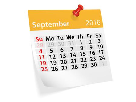 Maandelijkse kalender voor september 2016. 3D-afbeelding Stockfoto
