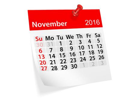 november 3d: Monthly calendar for November 2016. 3d illustration