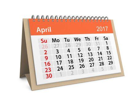 table calendar: Monthly table calendar for April 2017. 3d illustration