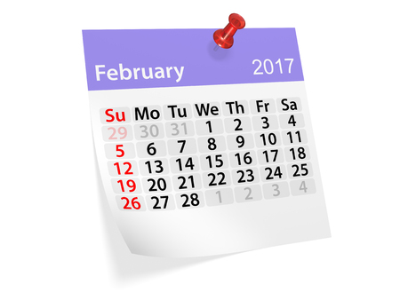 datebook: Monthly pinned note calendar for February 2017. 3d illustration