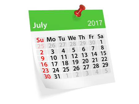 datebook: Monthly pinned note calendar for July 2017. 3d illustration Stock Photo