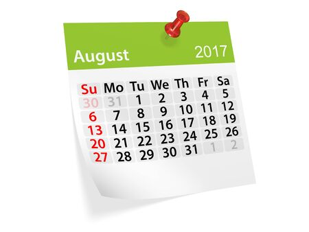 datebook: Monthly pinned note calendar for August 2017. 3d illustration