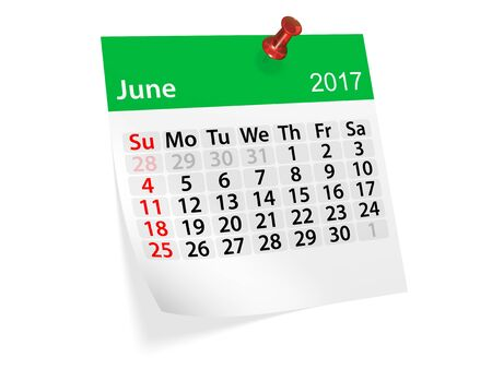 datebook: Monthly pinned note calendar for June 2017. 3d illustration Stock Photo