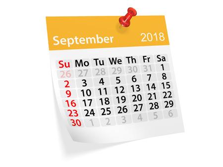 scheduler: Monthly pinned note calendar for September 2018. 3d illustration