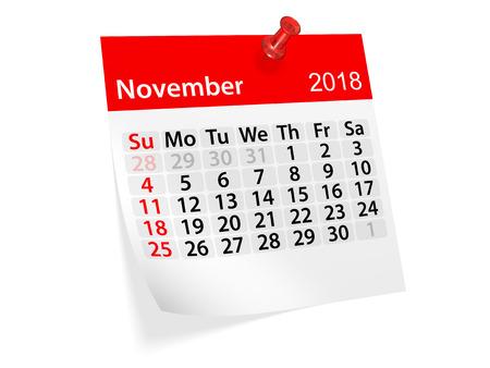 scheduler: Monthly pinned note calendar for November 2018. 3d illustration