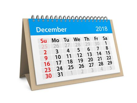 Monthly table calendar for December 2018. 3d illustration Фото со стока