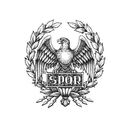 SPQR Symbol of the Roman Empire with Aquila Eagle and Laurel Wreath. Hand Drawn Vector Illustration