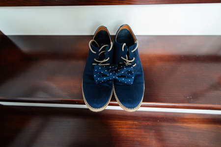 elegant staircase: Grooms blue suede shoes and a blue dotted bow tie on the stairs
