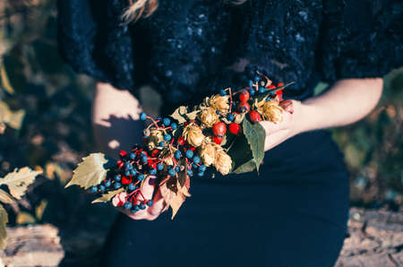 Beautiful young girl in a black dress with wreath of berries in hands. Autumn wreath Stock Photo