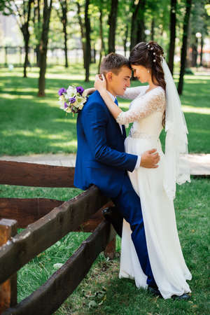 Bride and groom hugs in the park. Groom embraces the bride. Wedding couple in love at wedding day Stock Photo