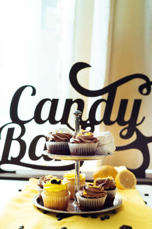 Holiday candy bar. Candy bar served with cupcakes with chocolate and lemon cream on stump