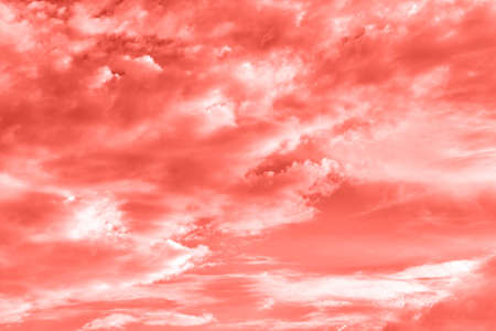 Sky with clouds, copy space. Living Coral background. Color of the year 2019. Nature heaven background