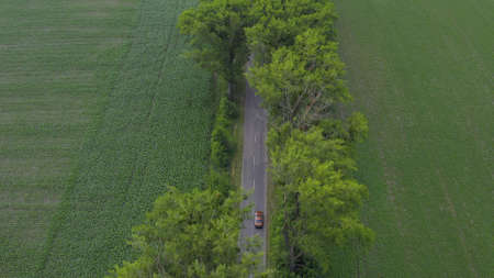 two cars drive each other along the road that is surrounded by forests, fields and meadows. retro cars and modern minivans travel in summer. aerial view Foto de archivo
