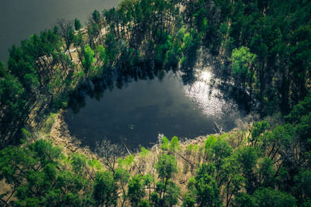 top view of a mysterious scary lake, a strange place with unusual energyin the green northern Pine forests, lungs of the planet, on the bay - Aerial Flight