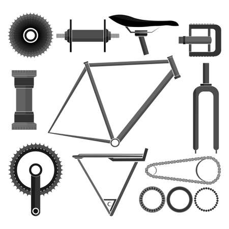 Set icons of bicycle - parts and accessories isolated on white. Vector illustration Vectores