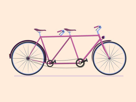Sketch of tandem bicycle vector