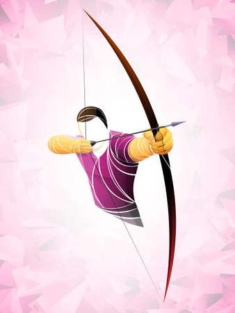 Stylized geometric archer illustration.