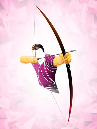 Stylized geometric archer illustration.