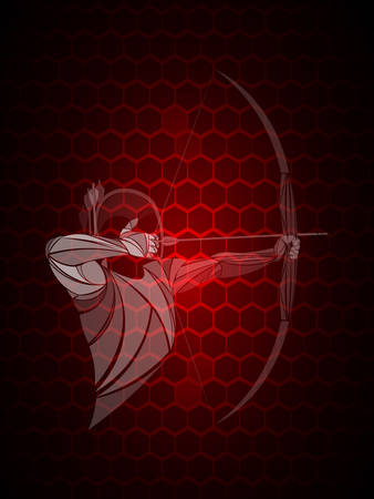 stylized, geometric archer, athlete vector