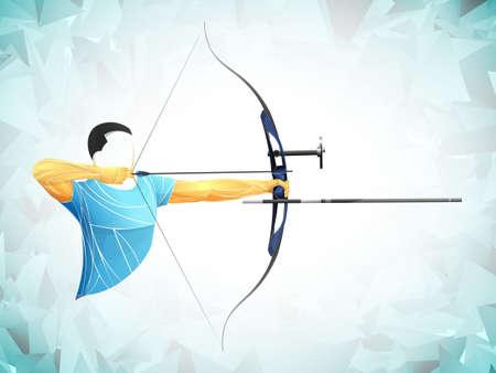 stylized, geometric archer, athlete vector