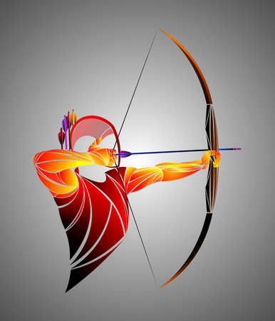 Stylized, geometric archer, athlete illustration. 向量圖像