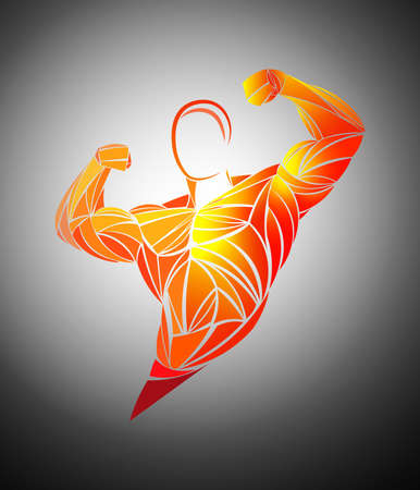 Bodybuilder Fitness Model. Stylized, geometric athlete, strongman vector