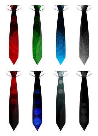 Set different ties isolated on white background. Colored tie for men. Illustration