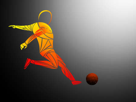 Stylized, geometric player is a soccer player vector. Athlete is fast, strong. Football game illustration. Soccer player with a graphic trail.