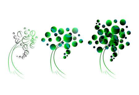 Stylized, geometric green tree collection illustration.