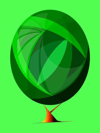 Stylized, geometric green tree vector illustration