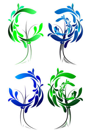 Stylized, geometric green tree collection