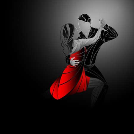 Illustrazione di vettore delle coppie di dancing Archivio Fotografico - 92731506