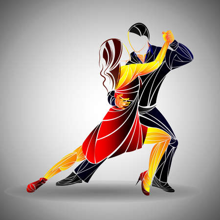 ダンス カップルの背景に分離 - ベクトル図、あなたのデザインの編集可能なグラフィック デザイン