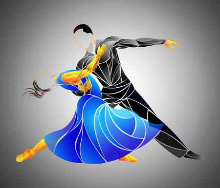 Dancing Couple - Isolated On Background - Vector Illustration, Graphic Design Editable For Your Design Stock Illustratie