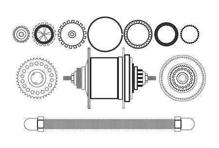 Bicycle detail free hub vector illustration. Isolated on white background.
