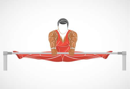 Uneven bars gymnast in artistic gymnastics black silhouette Illustration