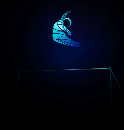 Uneven bars gymnast in artistic gymnastics black silhouette 일러스트