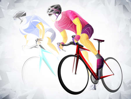 Stylized, geometric cyclist, cycling vector. Road cyclist on his bike, abstract grungy silhouette. Asian men are cycling road bike.