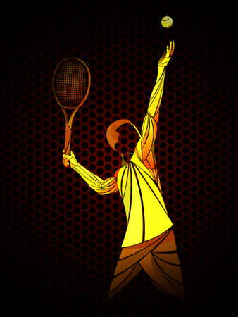 Abstract tennis player. Vector illustration